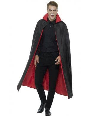 Reversible Long Black and Red Halloween Cape