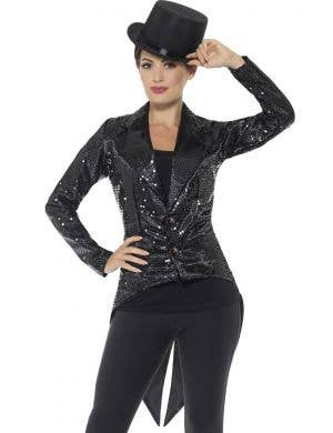 Showgirl Women's Black Sequin Tailcoat Costume Jacket