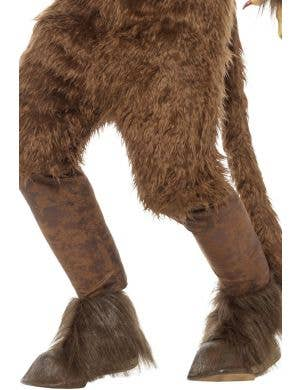 Halloween Men's Brown Beast Krampus Costume Gloves With Brown Fur And Red Claws Costume Accessory Main Image