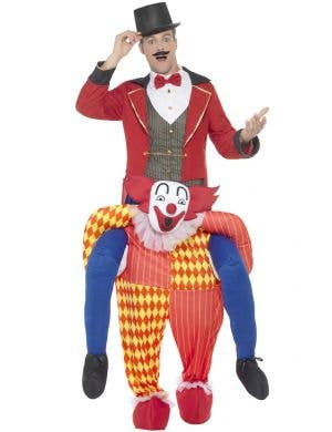 Colourful Clown Men's Piggyback Fancy Dress Costume