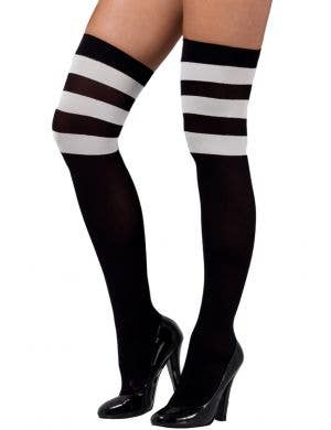Opaque Black Thigh High Stockings with White Stripes