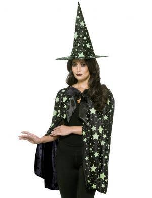 Midnight Witch Cape and Hat Accessory Set