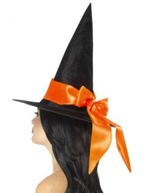 Deluxe Black Velvet Witch Hat with Orange Satin Bow