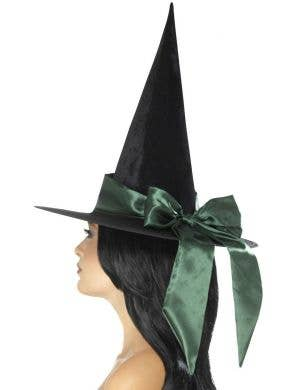 Deluxe Black Velvet Witch Hat with Green Satin Bow