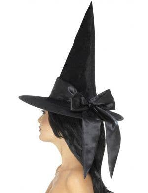 Deluxe Black Velvet Witch Hat with Black Satin Bow