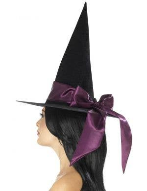 Deluxe Black Velvet Witch Hat with Purple Satin Bow