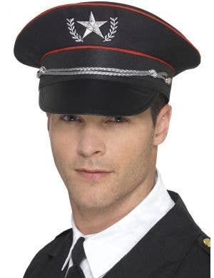 Deluxe Adults Black Military Costume Hat