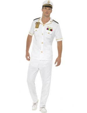 Ship Captain Men's White Uniform Dress Up Costume
