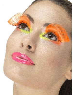 Extravagant Neon Orange Polka Dot False Eyelashes