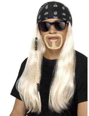 Hard Rocker Men's Blonde Costume Wig with Bandana