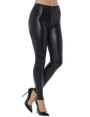 1980's Shiny Black Spandex Women's Costume Leggings