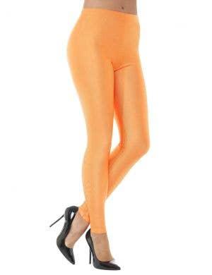 1980's Neon Orange Spandex Women's Costume Leggings
