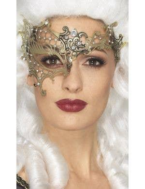 Over Eye Gold Metal Masquerade Mask
