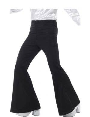Flared Black 1970's Men's Trousers Costume Pants