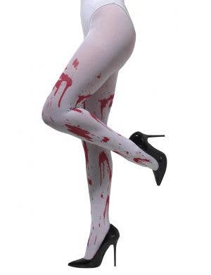 Women's White Halloween Stockings with Blood Stains