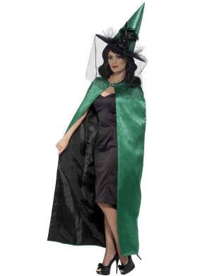 Reversible Black and Green Satin Witches Cape