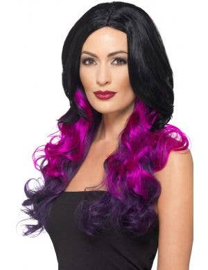 Deluxe Purple and Black Ombre Women's Costume Wig