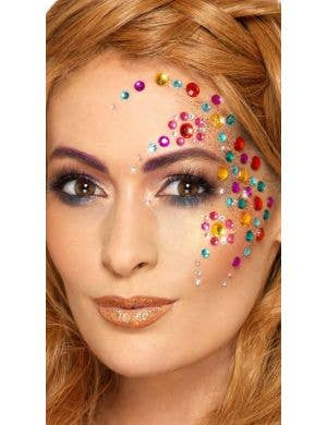 Rainbow Stick On Jewel Face Gems Costume Accessory