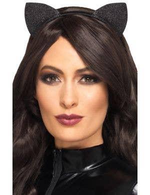 Shimmer Black Glitter Cat Ears on Headband