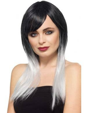 Ombre Black and White Deluxe Women's Wig