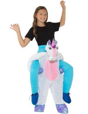 Piggyback Unicorn Girls Fancy Dress Costume