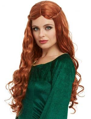 Medieval Princess Women's Curly Auburn Costume Wig