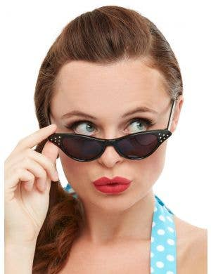 1950s Women's Black Rock n Roll Costume Sunglasses