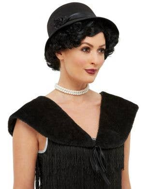 1920's Black Flapper Shawl and Hat Accessory Set
