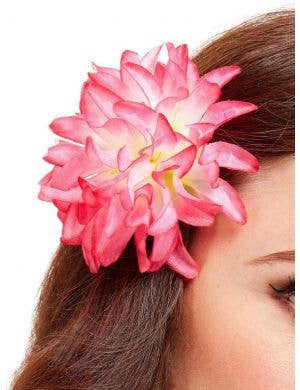 Tropical Pink Hawaiian Flower Hair Clip Costume Accessory