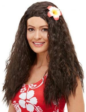 Hawaiian Flower Women's Curly Brown Costume Wig