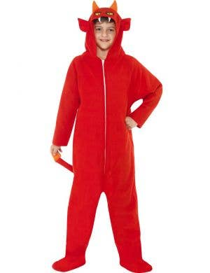 Boy's Devil Red Onesie Costume Front View