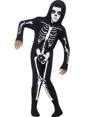 Boy's Black and White Skeleton Halloween Onesie Front View