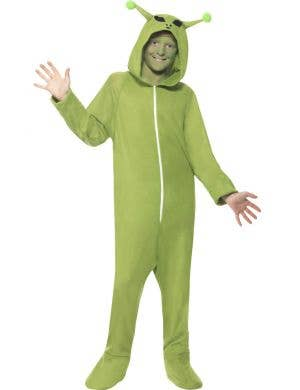 Boy's Green Alien Onesie Space Costume Front View
