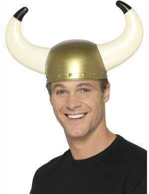 Gold Plastic Viking Warrior Costume Helmet