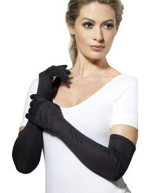Women's Long Black Satin Opera Gloves Accessory