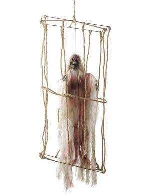 Light Up Caged Skeleton Prisoner Haunted House Decoration
