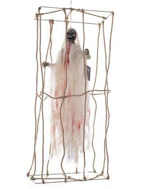 Light Up Caged Skeleton Prisoner Haunted House Decoration