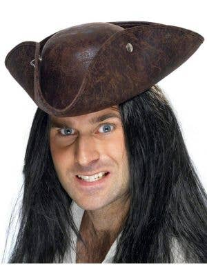 Suede Pirate Tricorn Costume Hat