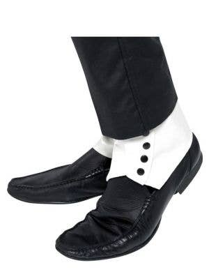 1920's White Vinyl Shoe Spats Great Gatsby Costume Accessory