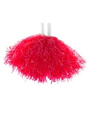 Red Cheerleader Pom Poms Costume Accessory