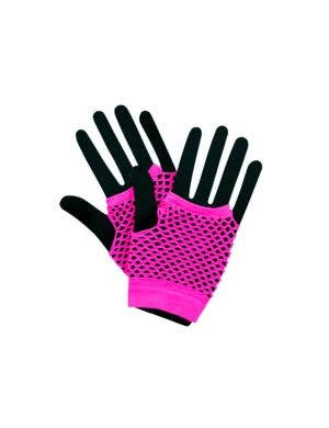 Fingerless Short Neon Pink 80's Fishnet Gloves