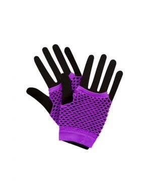 Fingerless Short Purple 80's Fishnet Gloves