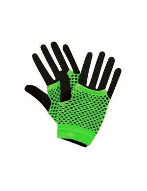Fingerless Short Neon Green 80's Fishnet Gloves