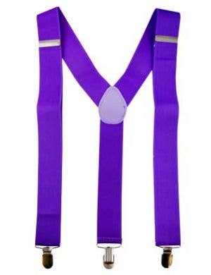 Neon Purple Suspenders Costume Accessory