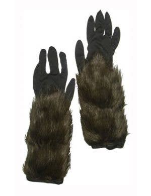 Hairy Brown Werewolf Costume Accessory Gloves