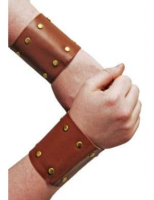 Brown Leather Look Roman Gold Studded Wrist Cuffs Costume Accessory