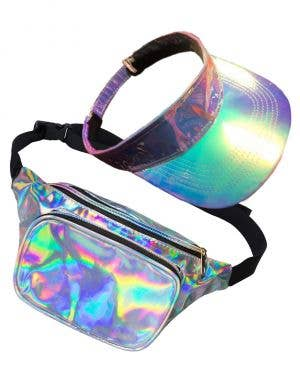 Holographic Silver Visor and Bum Bag Accessory Set