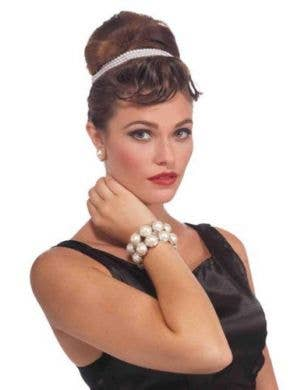 Vintage Hollywood White Pearl Bracelet Costume Accessory