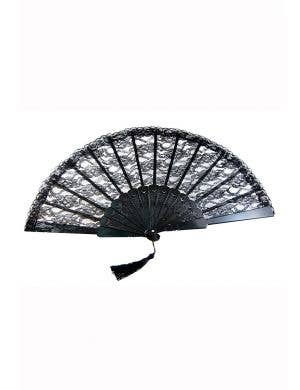 Black Lace Burlesque Fan with Tassel Costume Accessory