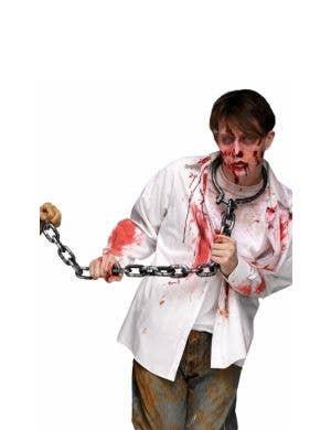 Zombie Prisoner Silver Chain Leash Costume Accessory